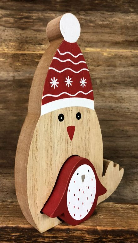 Cute Wooden Jigsaw Christmas Mantel Ornament - Robin